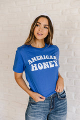 The American Honey Graphic Top in Blue
