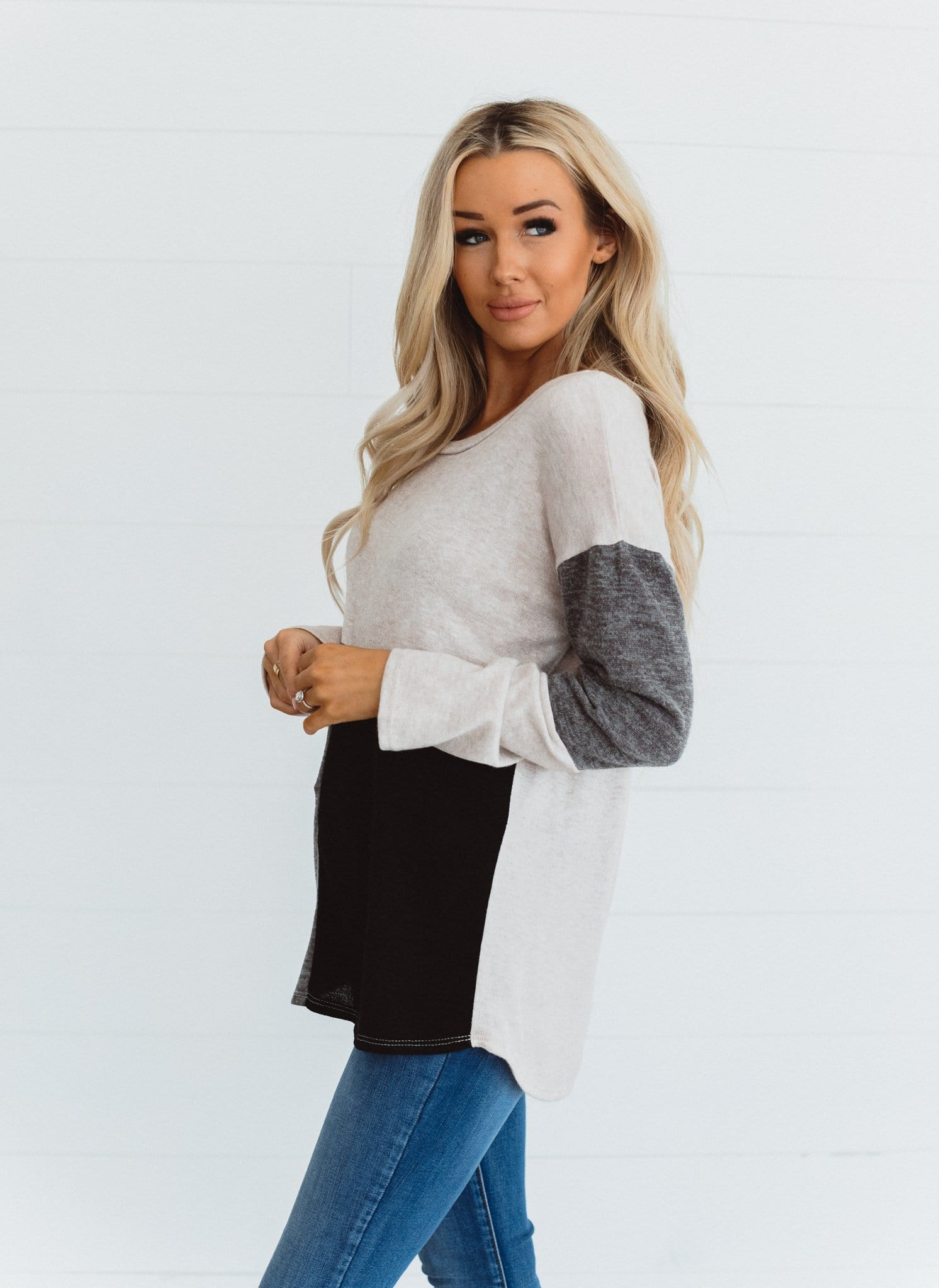 The Anja Color Block Sweater in Mocha/Black