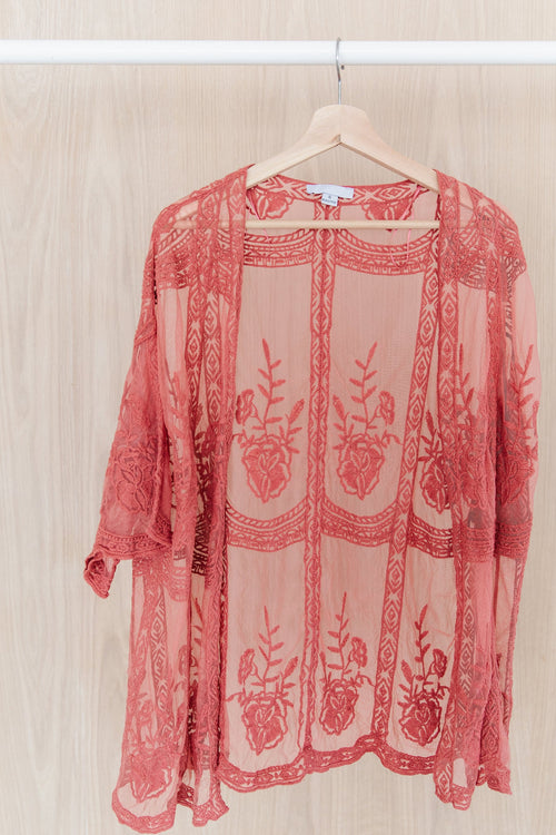 The Arlow Lace Cardigan in Rose
