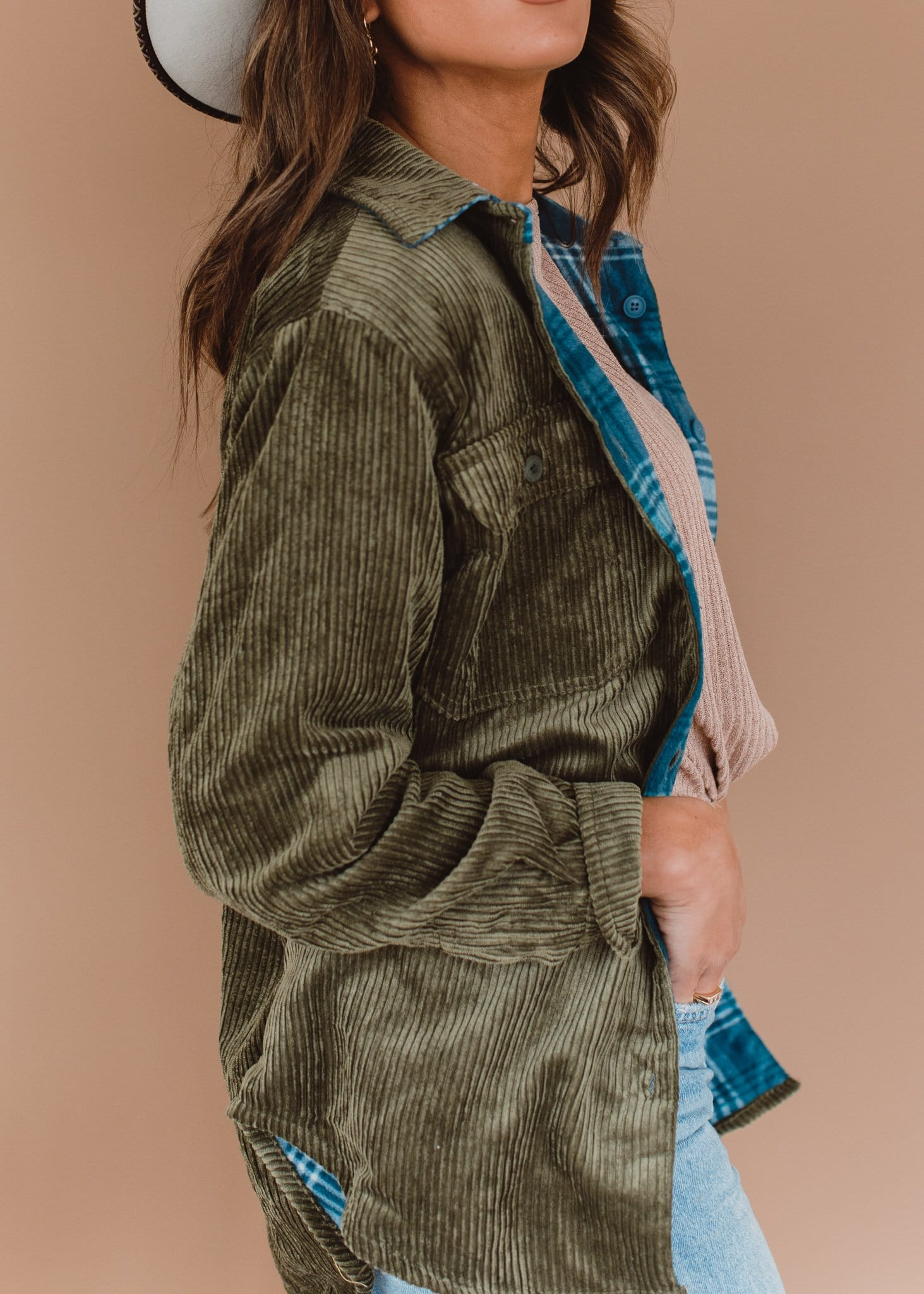 The Ashbury Corduroy Shacket in Olive