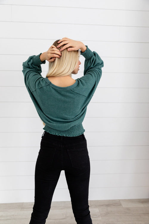 The Aspen Puffy Sleeve Top in Green and Ivory