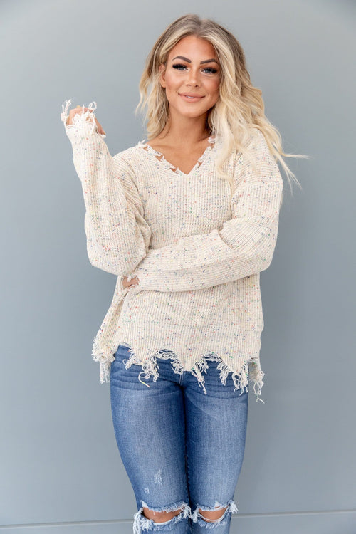 The Aster Distressed Confetti Sweater in Oatmeal