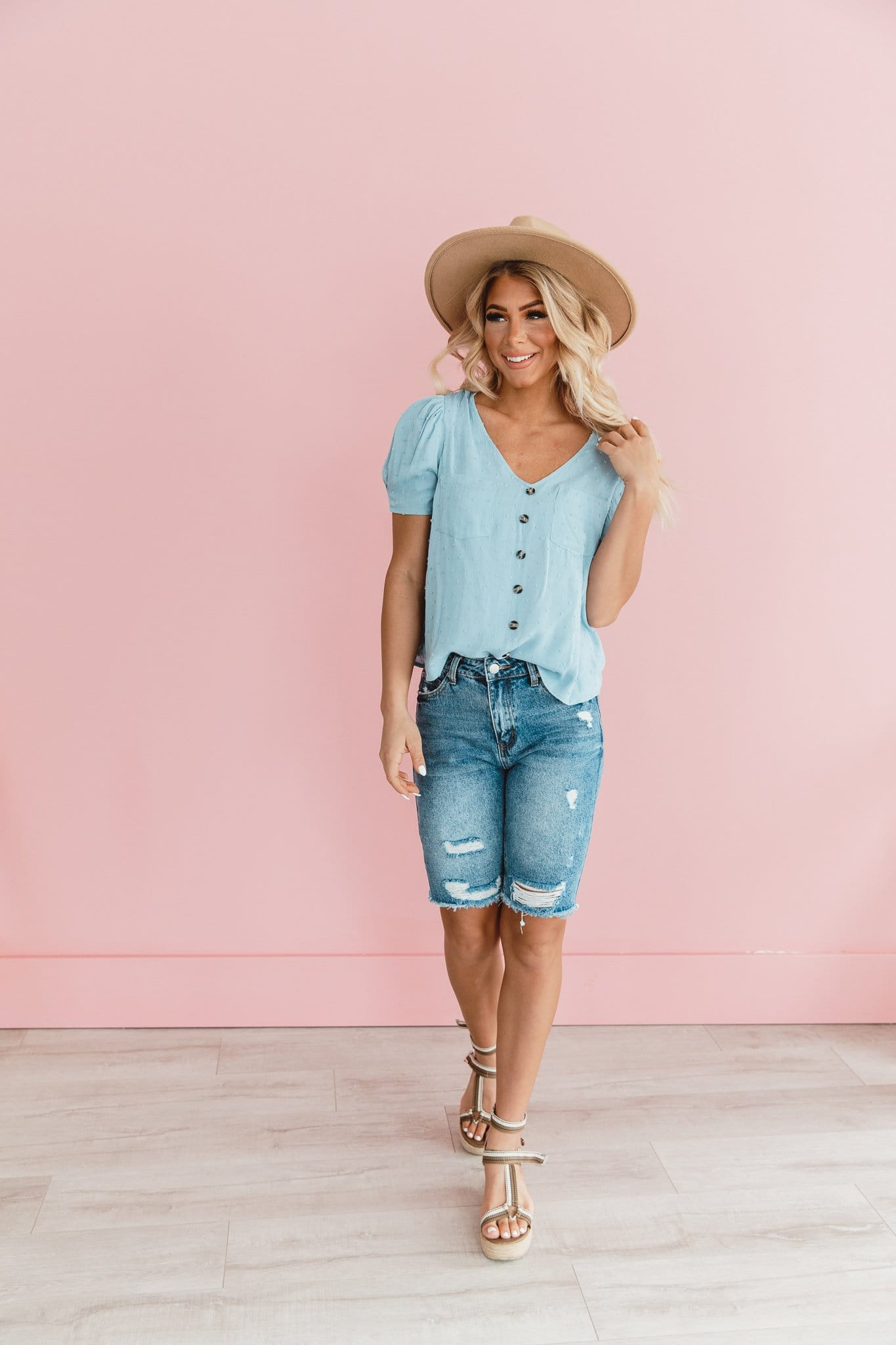 The Audrey Button Down Top in Dusty Blue and Sage