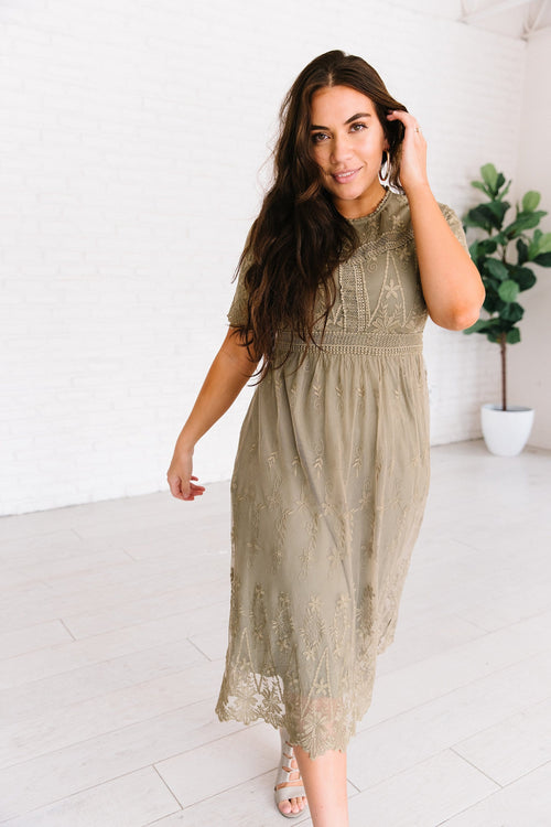 The Autumn Lace Embroidered Dress in Olive