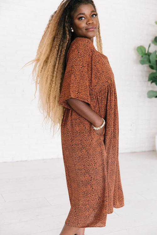 The Averett Animal Print Dress in Bronze