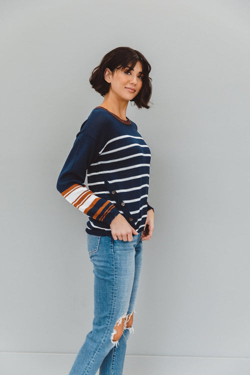 The Avery Stripe Knit Sweater in Navy