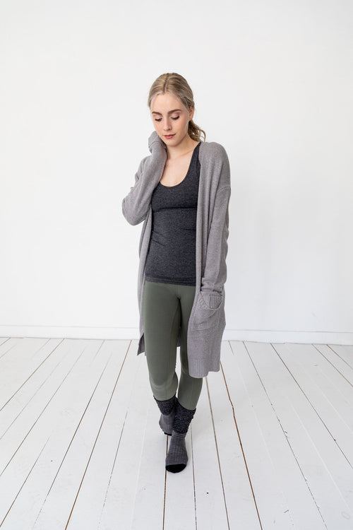 The Ayden Cuffed Cardigan in Heather Grey and Olive