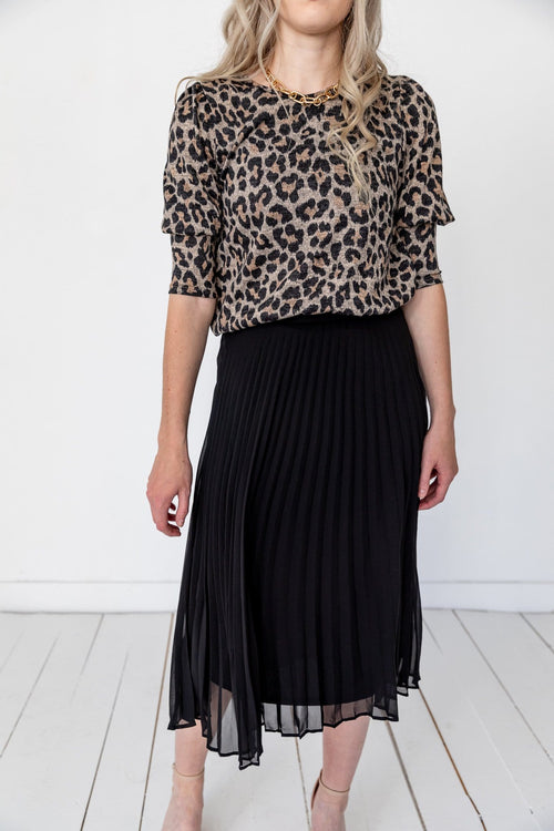 The Baird Pleated Skirt in Black