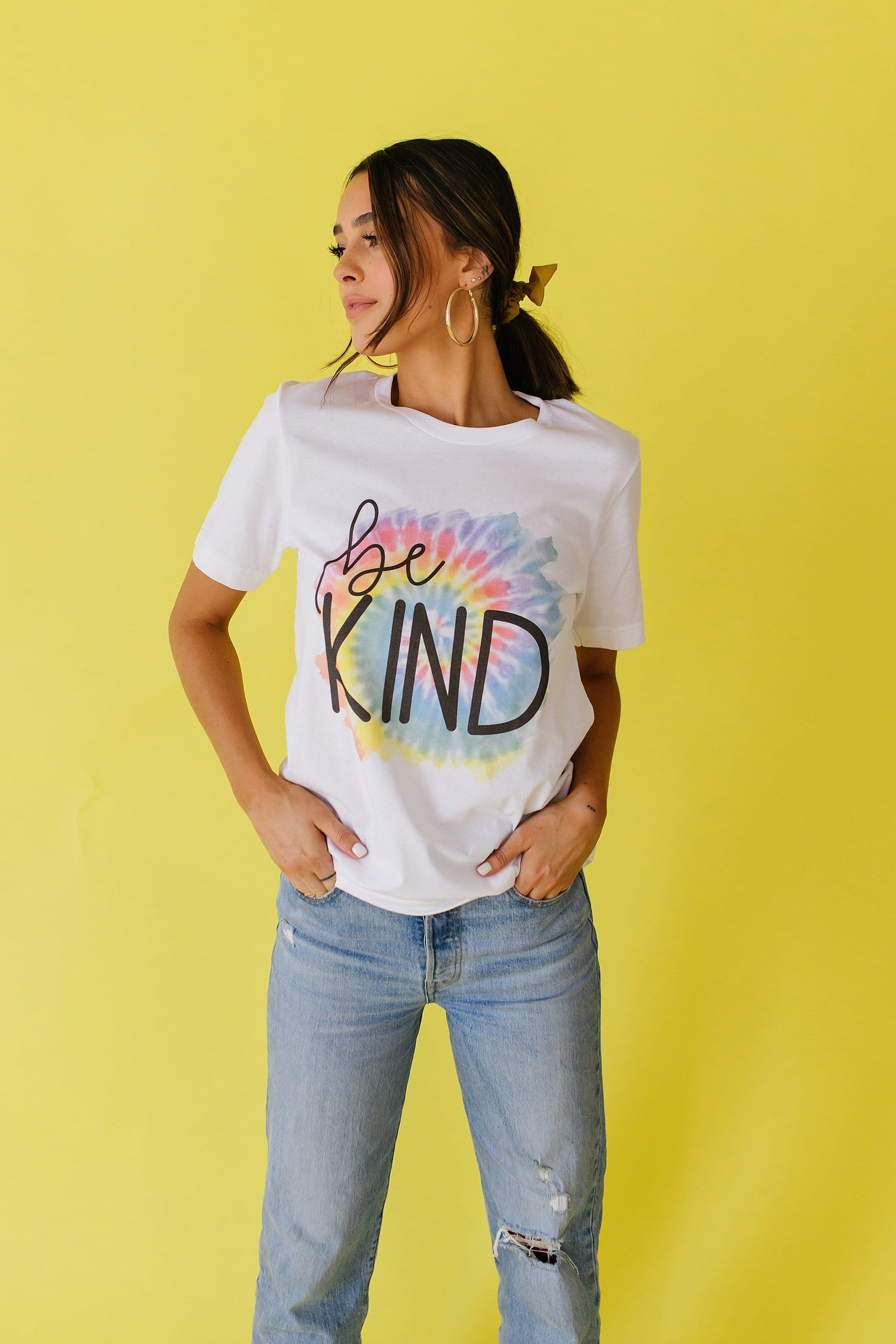 The Be Kind Tie Dye Graphic Top in White