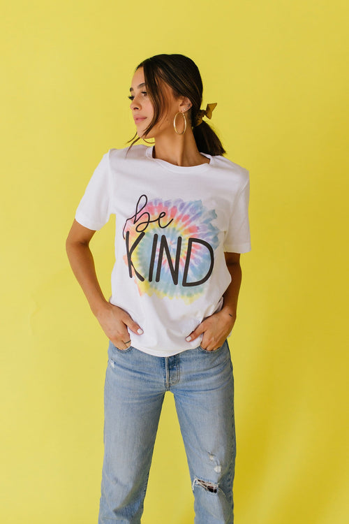 The Be Kind Tie Dye Graphic Top in White - Size XL