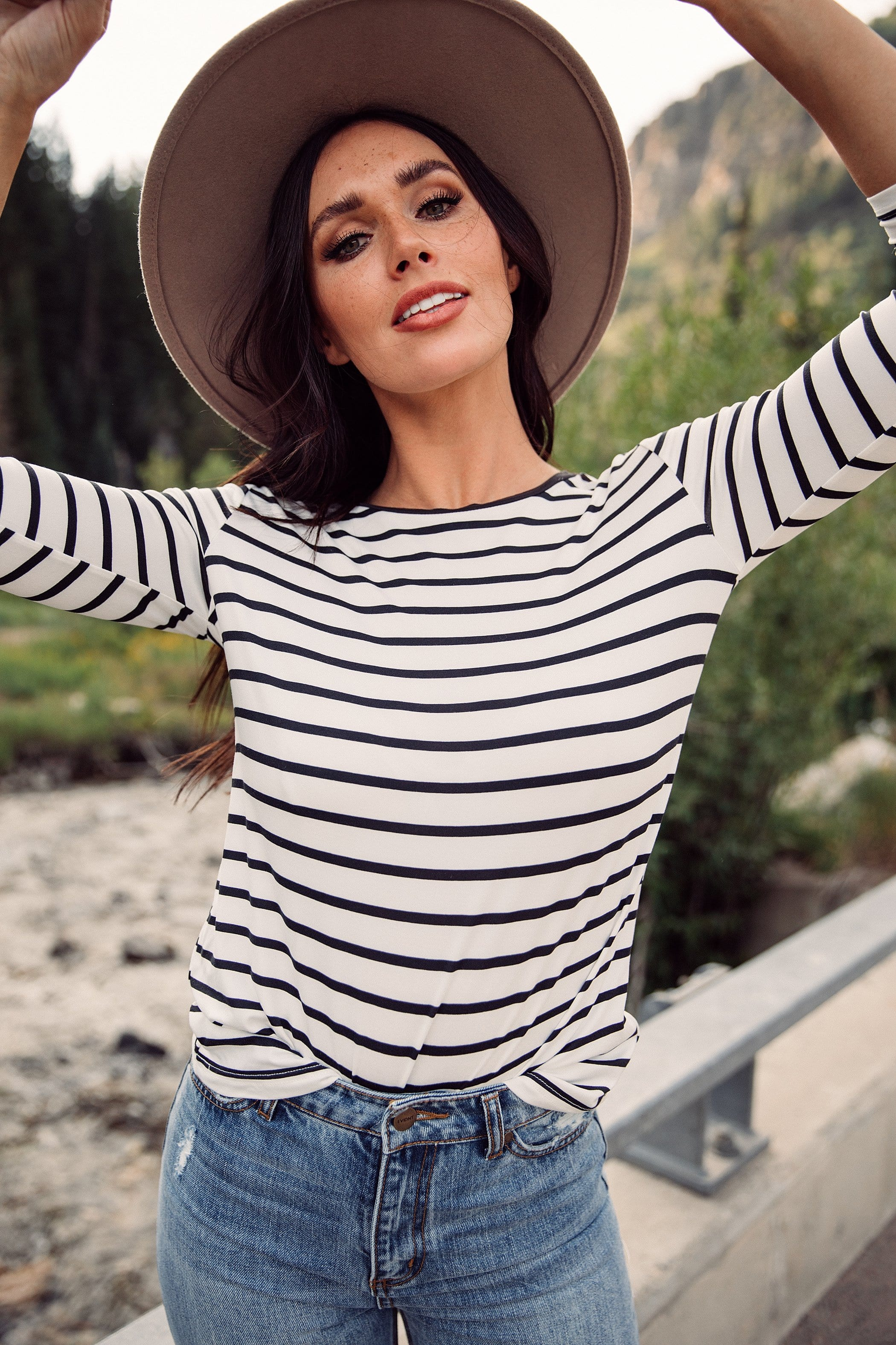 The Beck Stripe Top in White