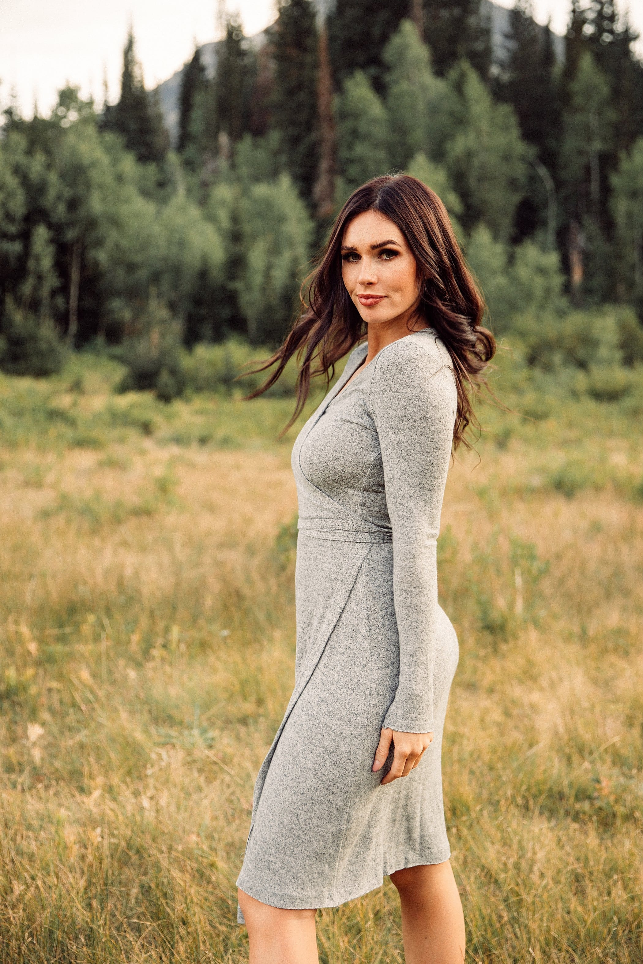 The Bellevue Wrap Dress in Heather Grey