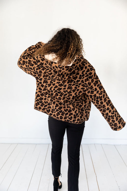 The Blaire Reversible Sherpa Jacket in Animal Print