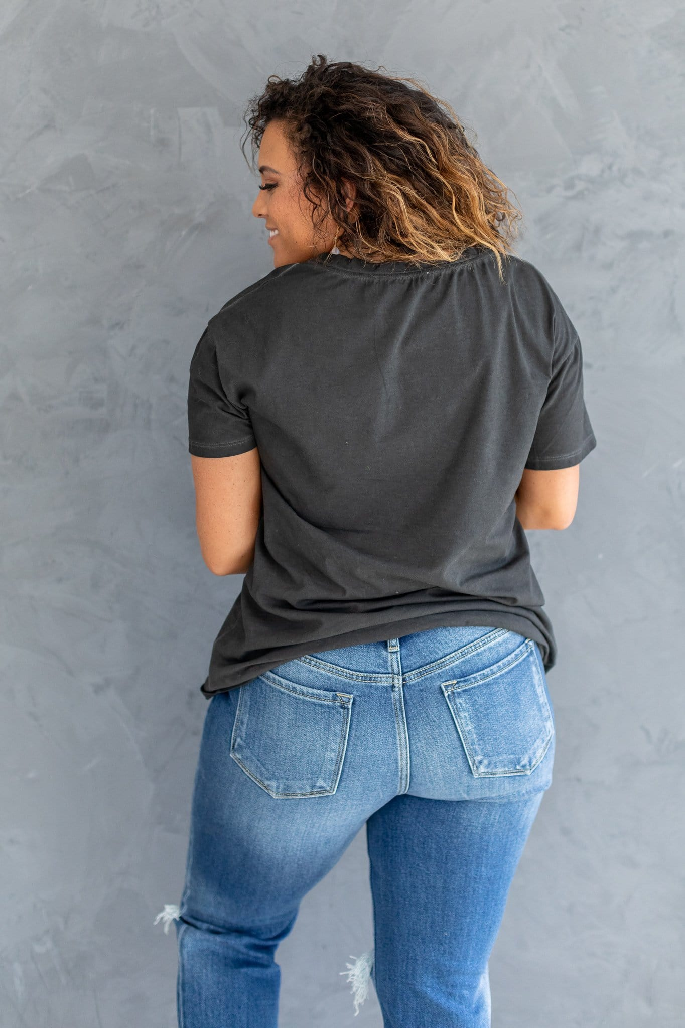 The Bridget Mineral Washed Top in Black, Indigo and Mauve