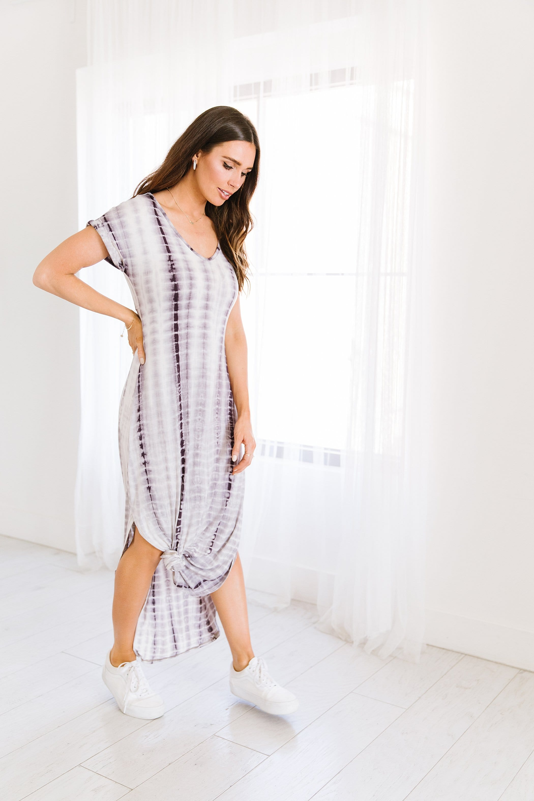 The Brocklyn Tie Dye Dress in Dusty Purple or Olive