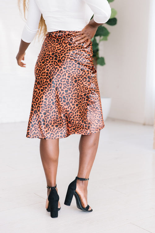 The Brooke Animal Print Skirt in Copper