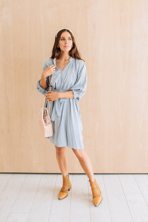 The Brooks Plaid Dress in Denim