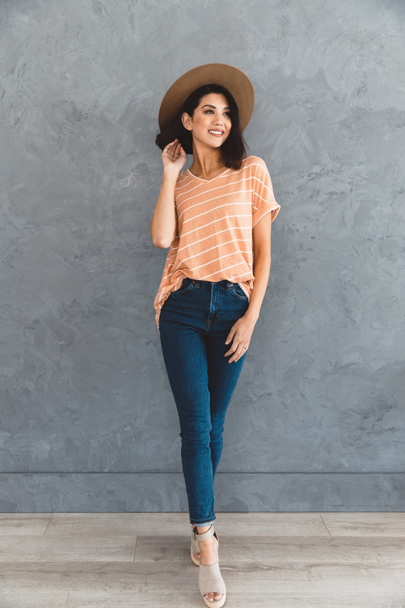 The Brylee Asymmetrical Striped Top in Chedron and Ivory