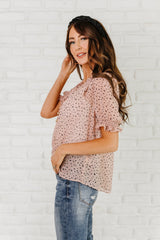 The Brynn Speckled Dot Top in Blush