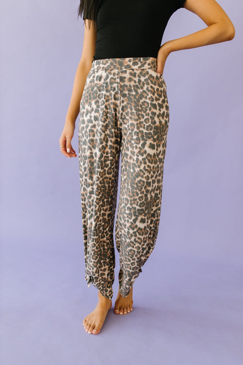 The Cadence Split Knot Pants in Animal Print