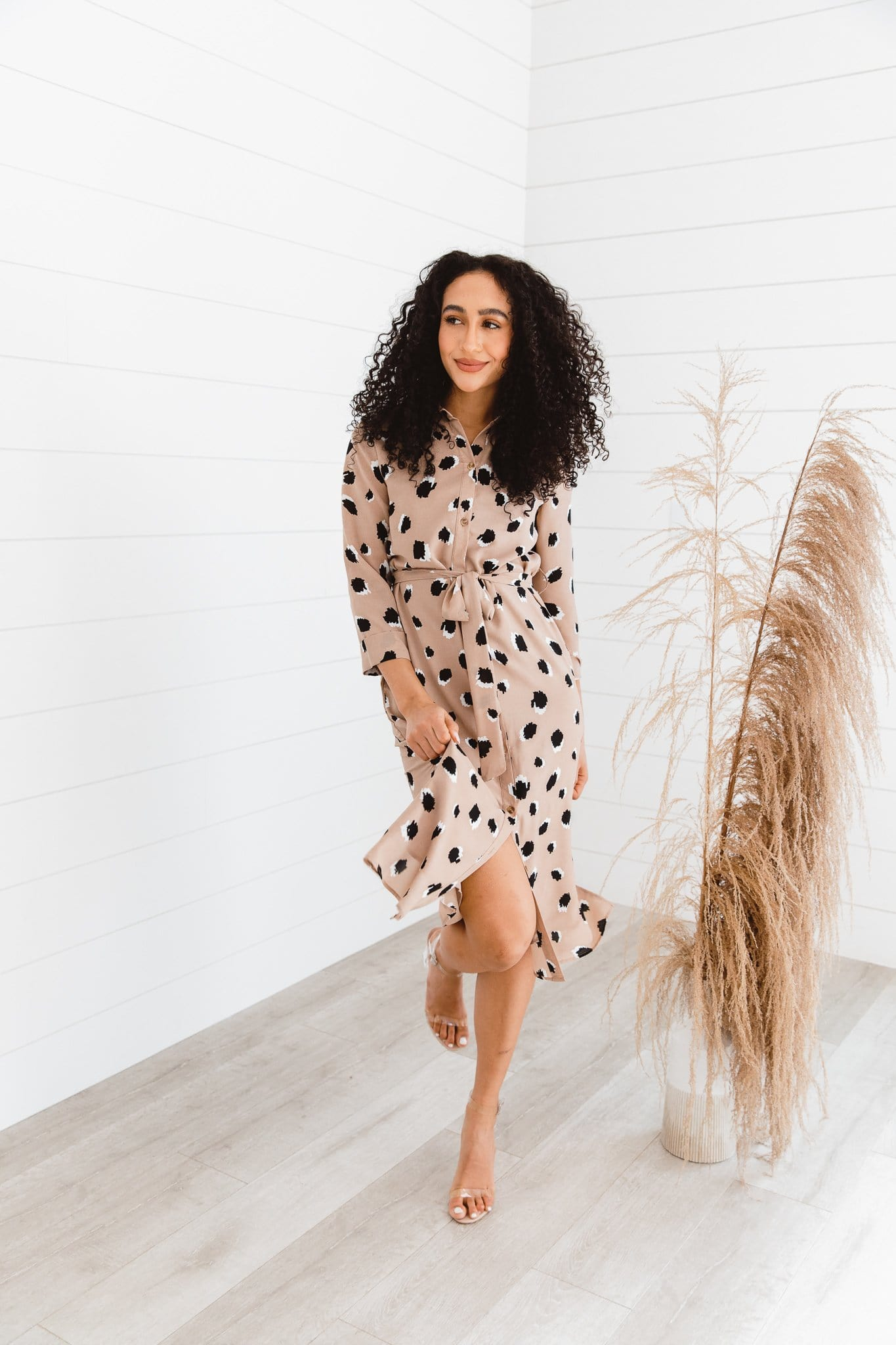 The Caffe Shirt Dress in Animal Print