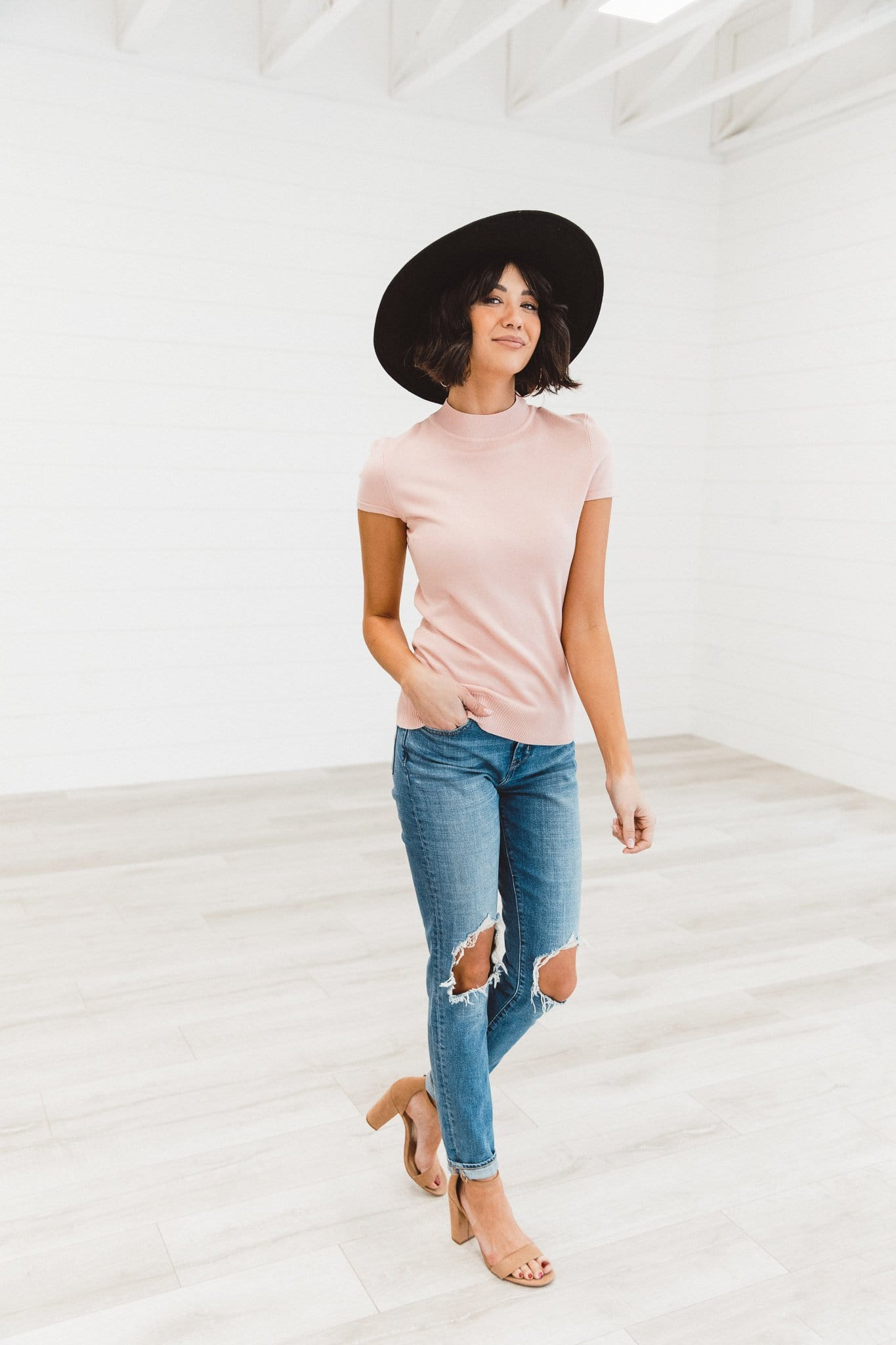 The Calli Mock Neck Sweater in Pink and White