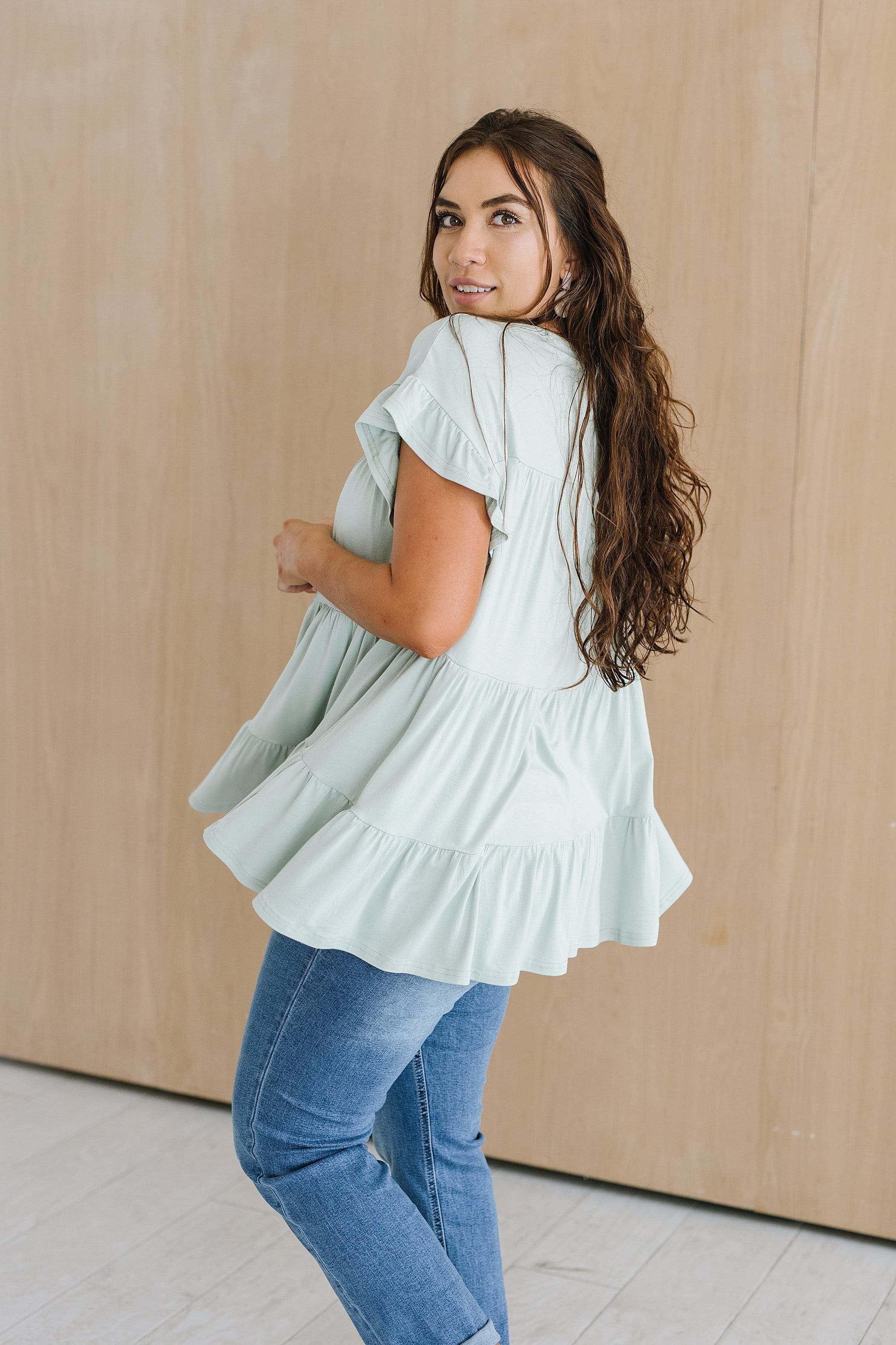 The Cambra Tiered Ruffle Top in Sage
