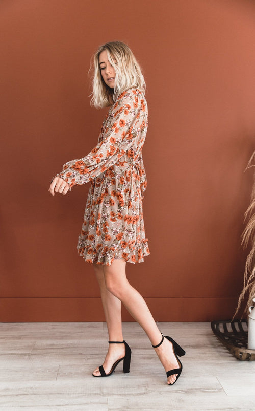 The Candace Floral Dress in Latte