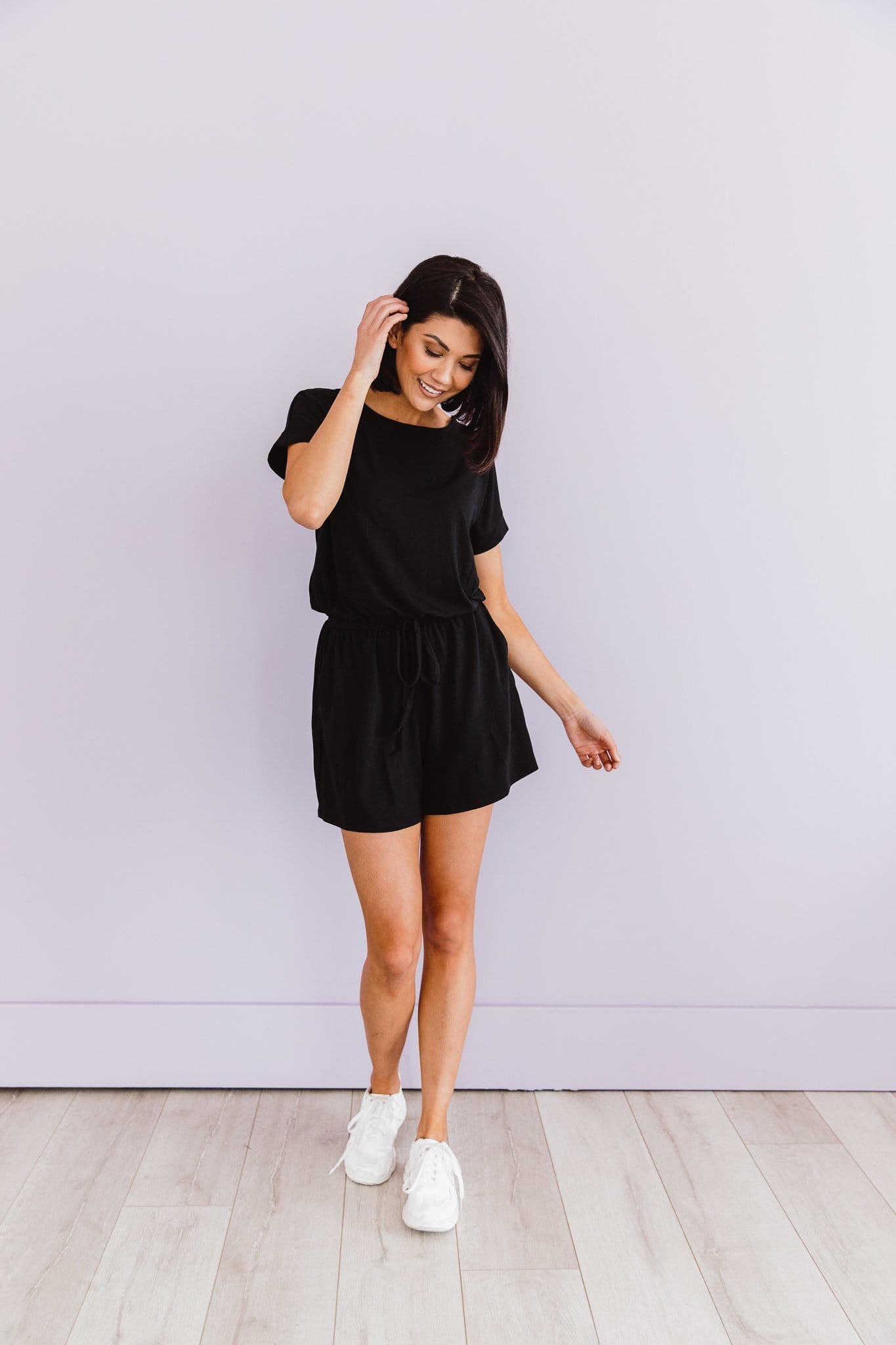 The Caprina Romper in Black, Blue Grey and Fuchsia