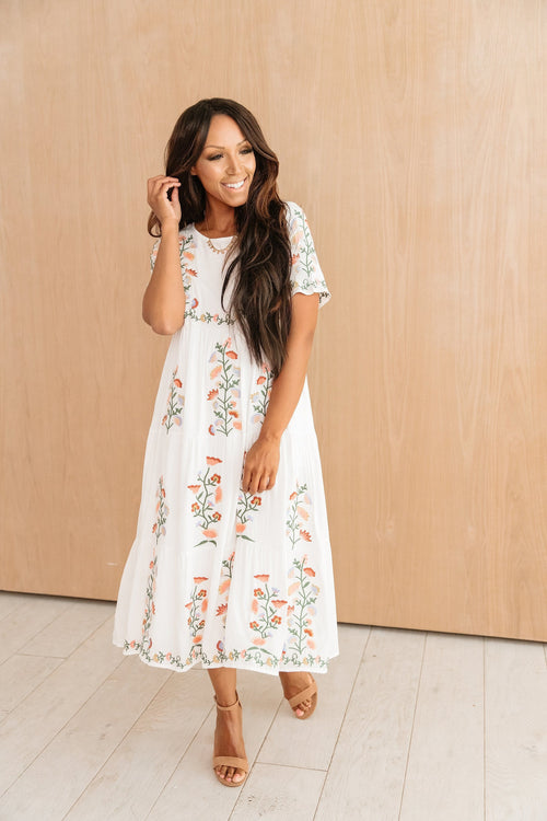 The Carice Embroidered Tiered Dress in White