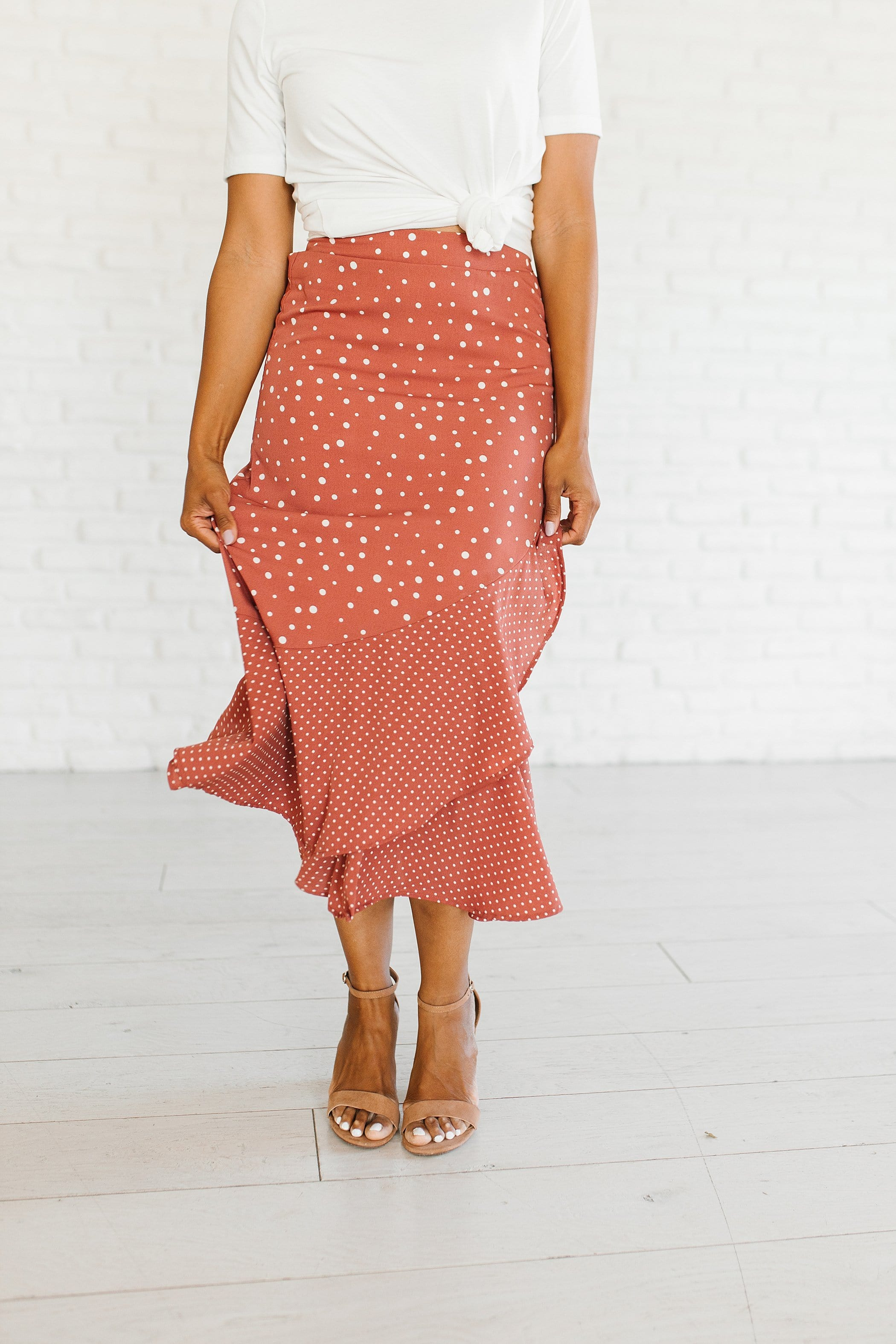 The Catalina Ruffle Dot Skirt in Cream and Mauve
