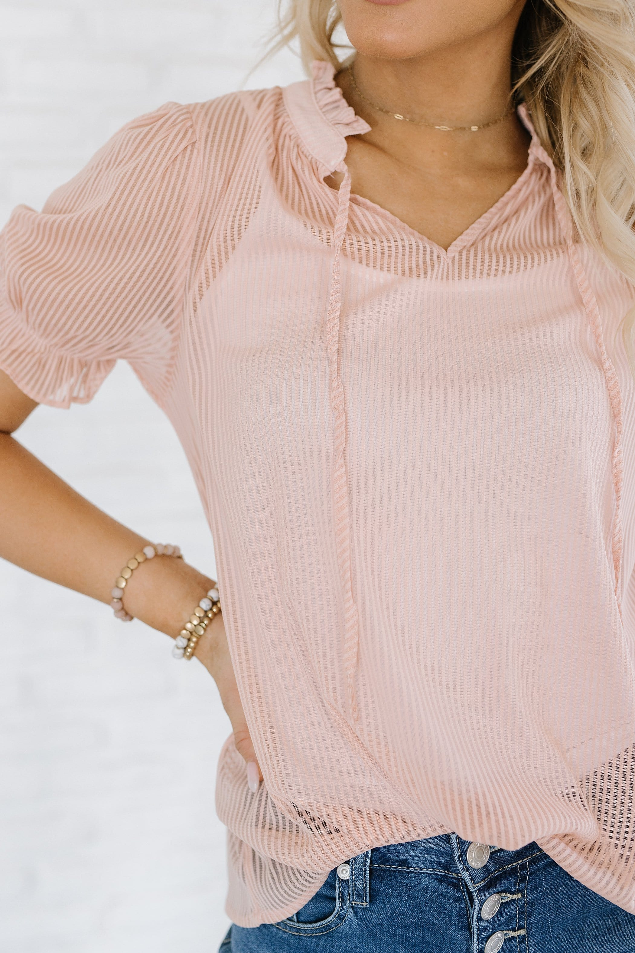 The Celeste Striped Top in Blush