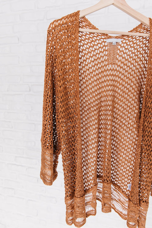 The Chantel Knit Lightweight Sweater or Swim Coverup in Apricot and Sand