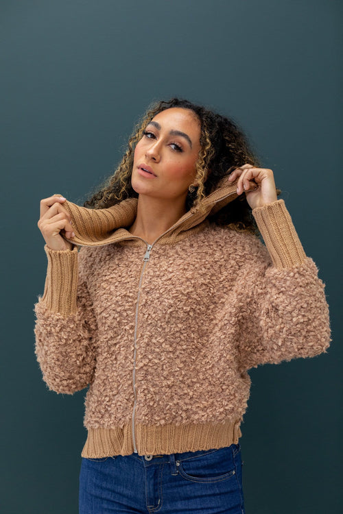The Cheryl Sweater Jacket in Camel