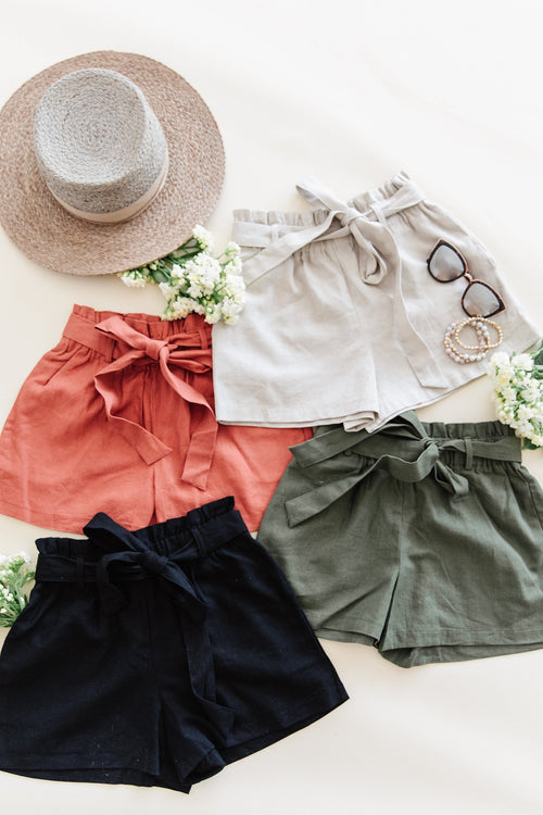 The Clarke Linen Shorts in Black, Khaki, Olive and Terra Cotta