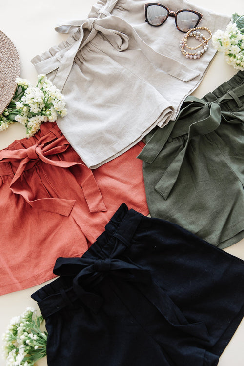 The Clarke Linen Shorts in Khaki, Olive and Terra Cotta