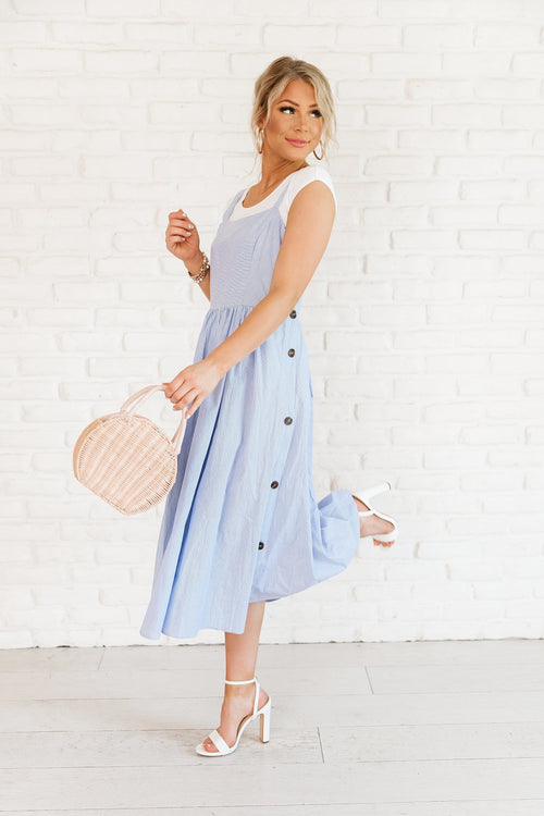 The Cline Pinstripe Dress in Blue