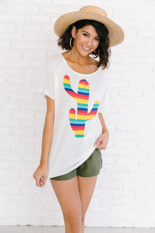 The Colorful Cactus Graphic Top in White