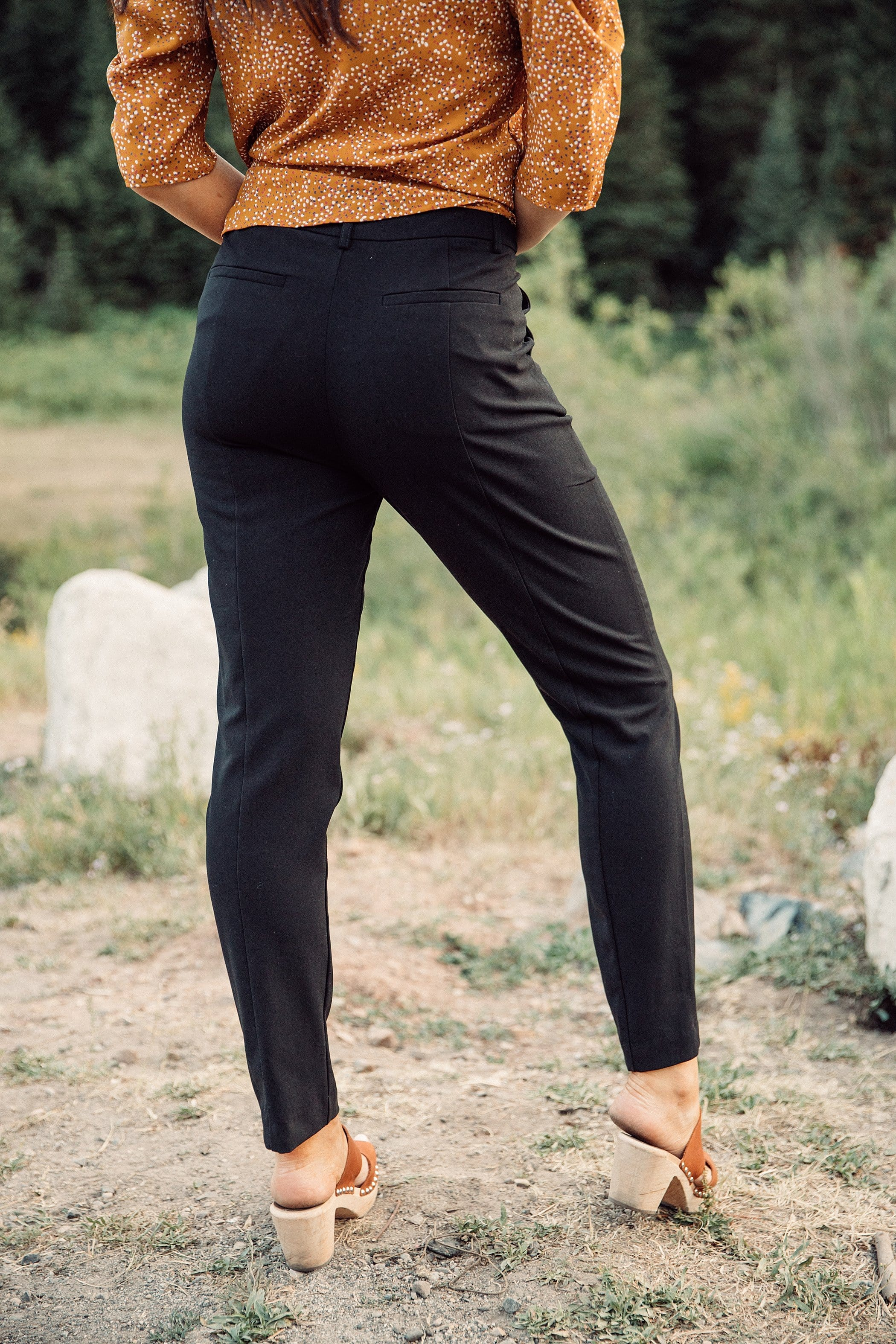 The Concord Mid Rise Pants in Black