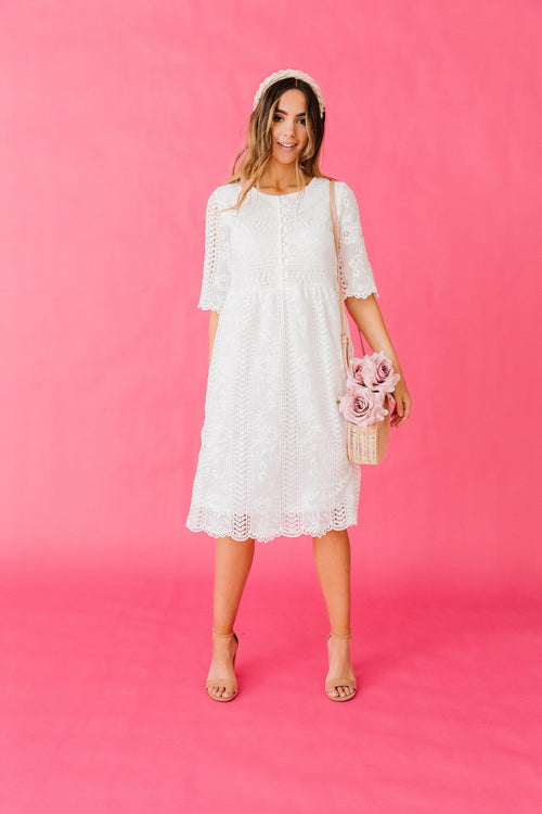 The Cornelia Lace Dress in White
