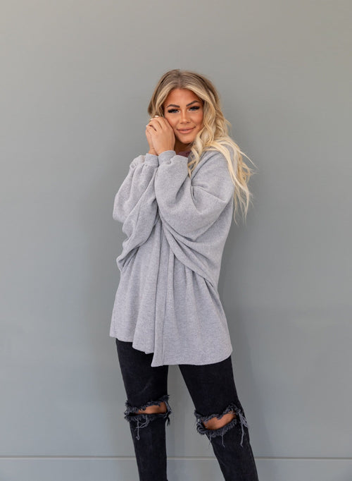 The Crispin Balloon Sleeve Cardigan in Heather Grey