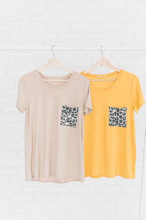 The Dakota Animal Print Pocket Top in Beige and Mustard