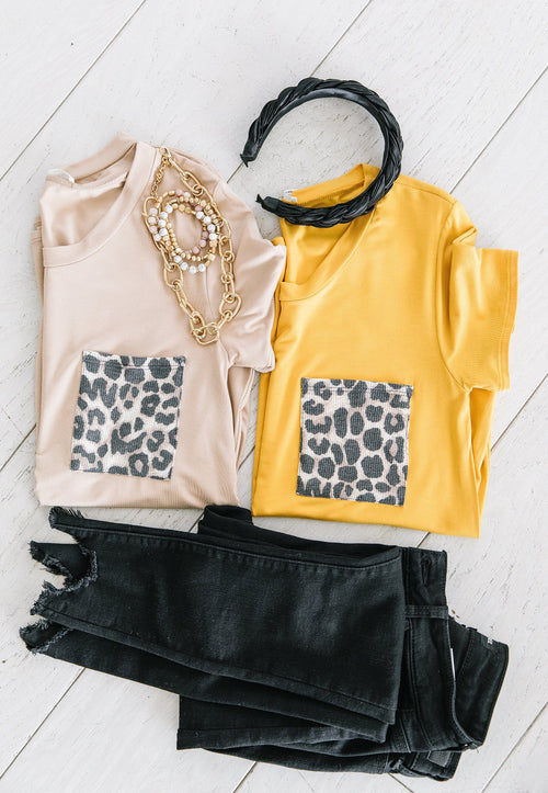 The Dakota Animal Print Pocket Top in Mustard