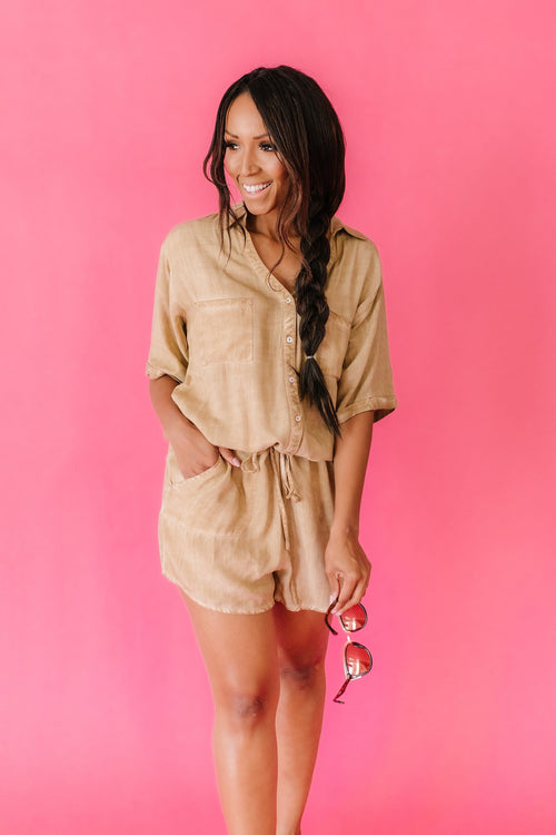 The Danica Button Down Romper in Denim and Sand