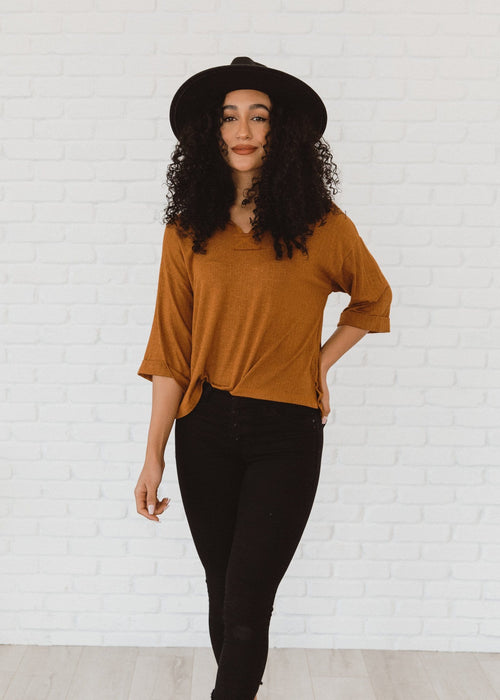 The Danna Round Neck Knit Top in Cognac