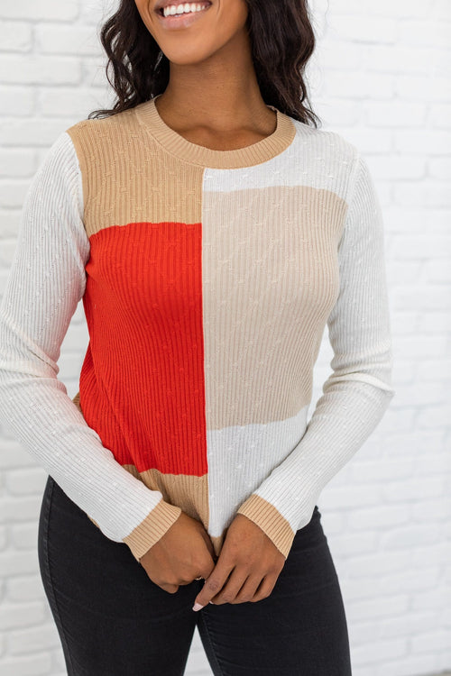 The Darby Color Block Sweater Top in Multi