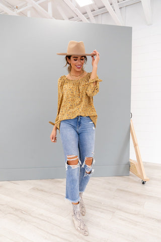 The Clint V Neck Top in Mustard