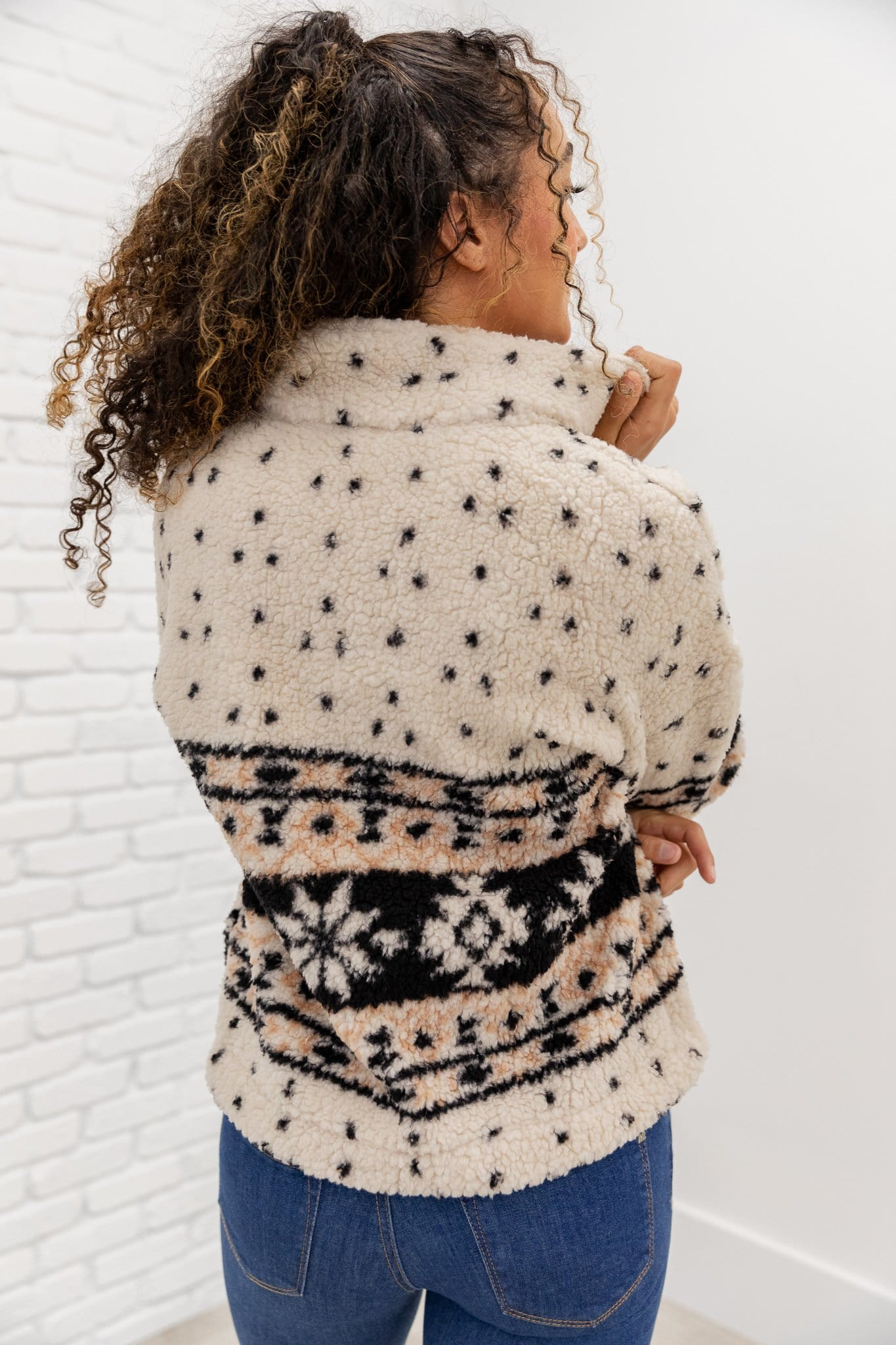 The Drea Aztec Sherpa Pullover in Cream