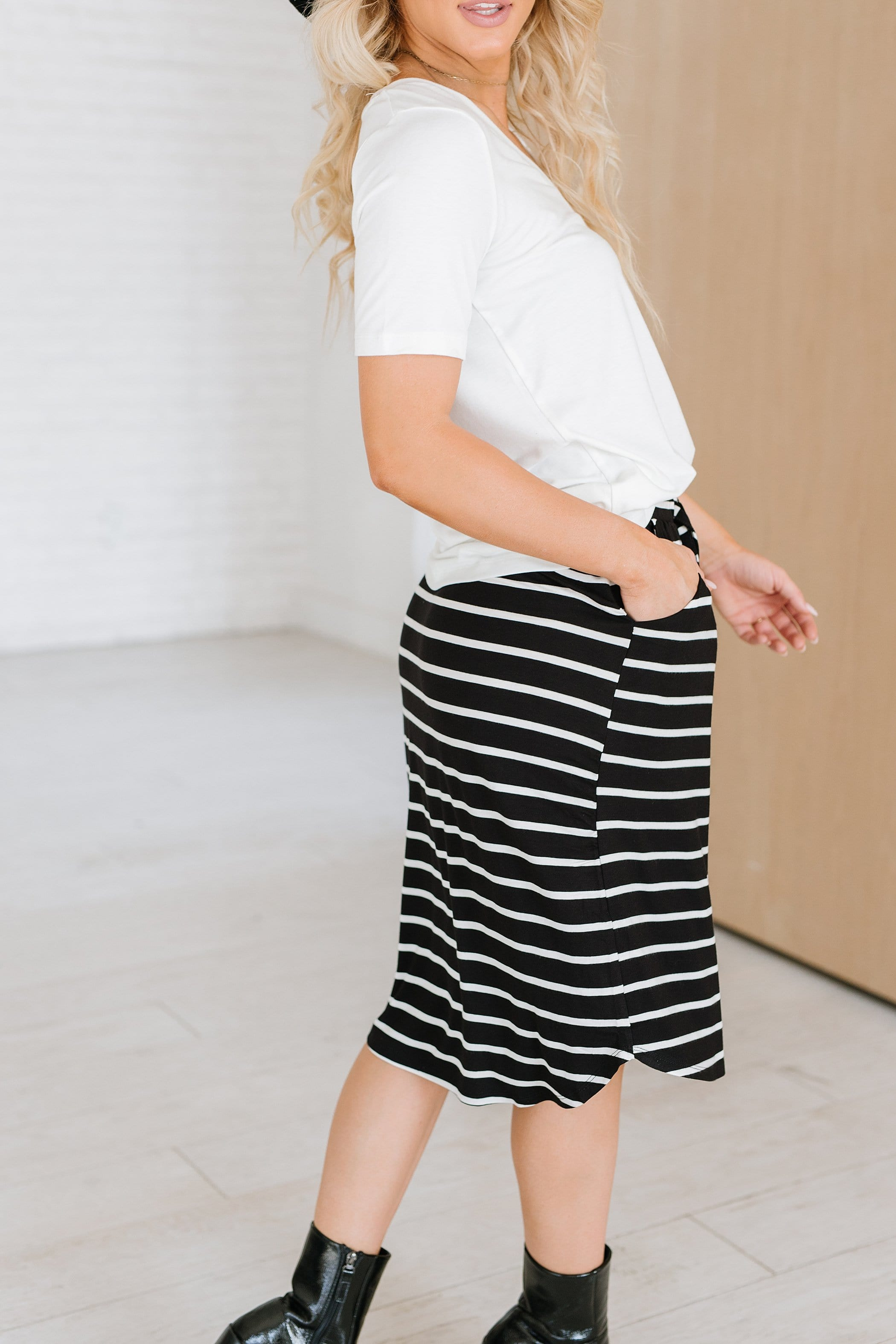 The Eastwick Striped Skirt in Black