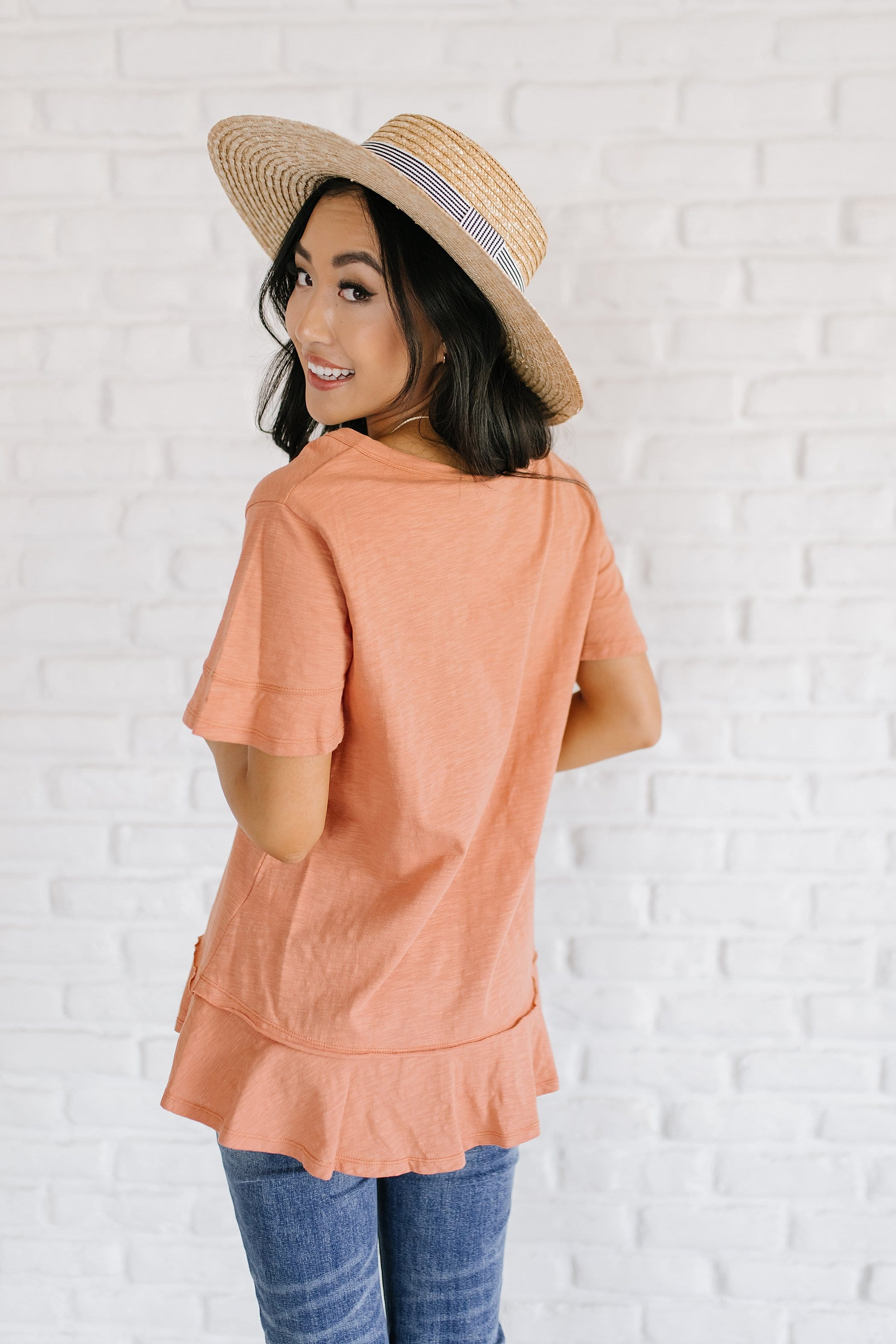 The Edisyn Scoop Neck Top in Apricot